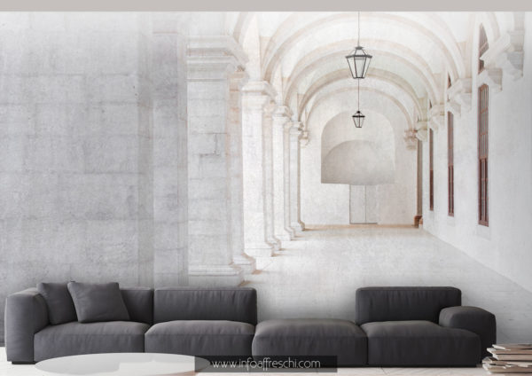 Carta da parati 3D chiostro monastero per interior design luxury