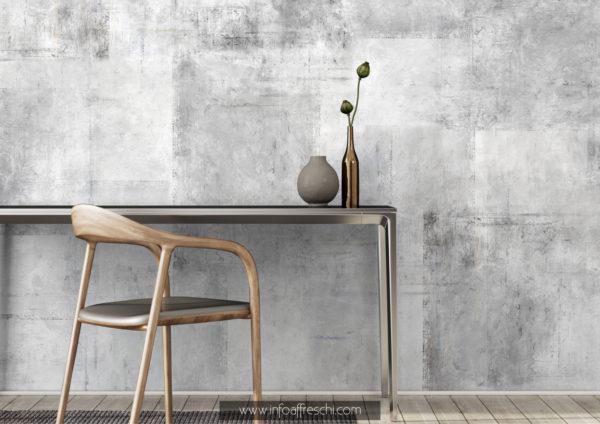 Carta da parati effetto cemento stile industriale bianco e nero