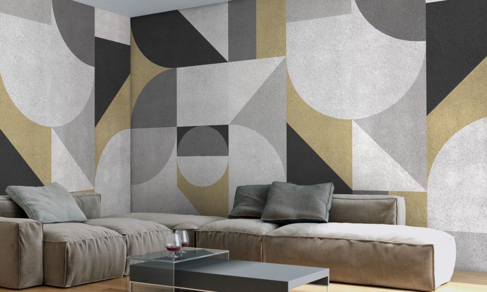 Carta da parati geometrica vintage optical nero bianco grigio e avorio