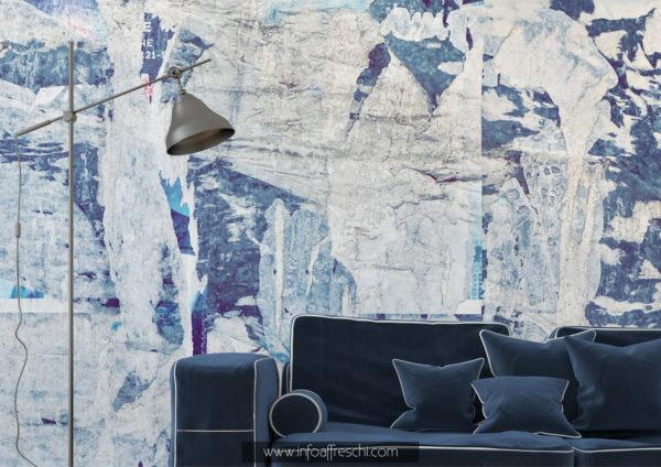 Carta da parati blu effetto materico interior design
