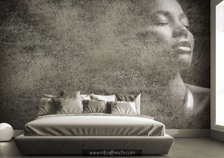Carta da parati materica con ritratto donna bianco e nero stile casa moderna