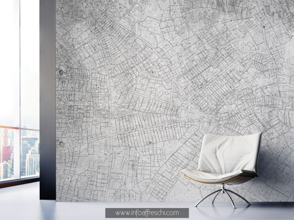 carta da parati cartina dall'alto panorama città bianco e nero