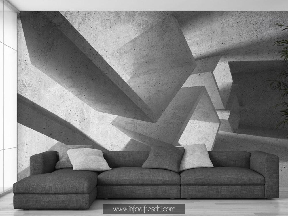 Carta da parati 3D design architettura bianco e nero