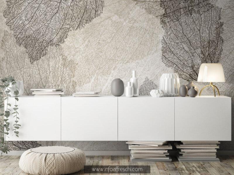 Carta da parati foglie e petali di fiori bianco e nero per arredare casa con colori chiari idee interior design luxury