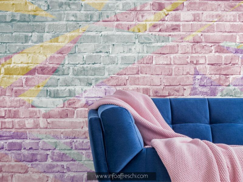 Carta da parati colorata mattoncini colori pastello per arredare cameretta