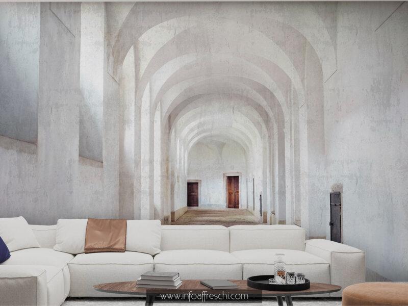 Carta da parati 3D con ambienti interni colori chiari per dare profondità al salotto design new classic