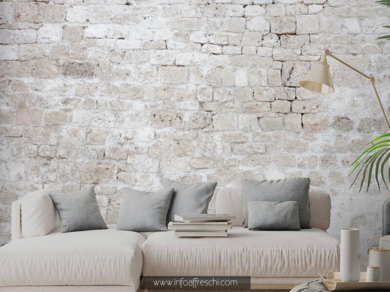 Carta da parati pietra con mattoncini effetto muro di campagna, arredamento shabby chic, nordic, stile casale di campagna