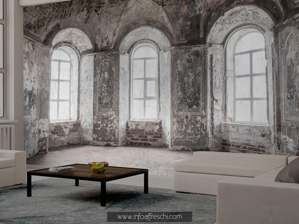 Carta da parati 3D finestre palazzo antico luxury interior