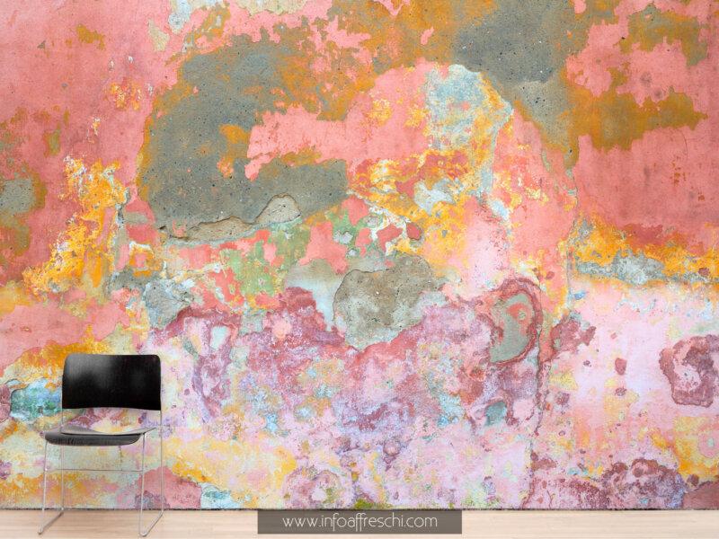 Carta da parati colorata muro effetto invecchiato delabré