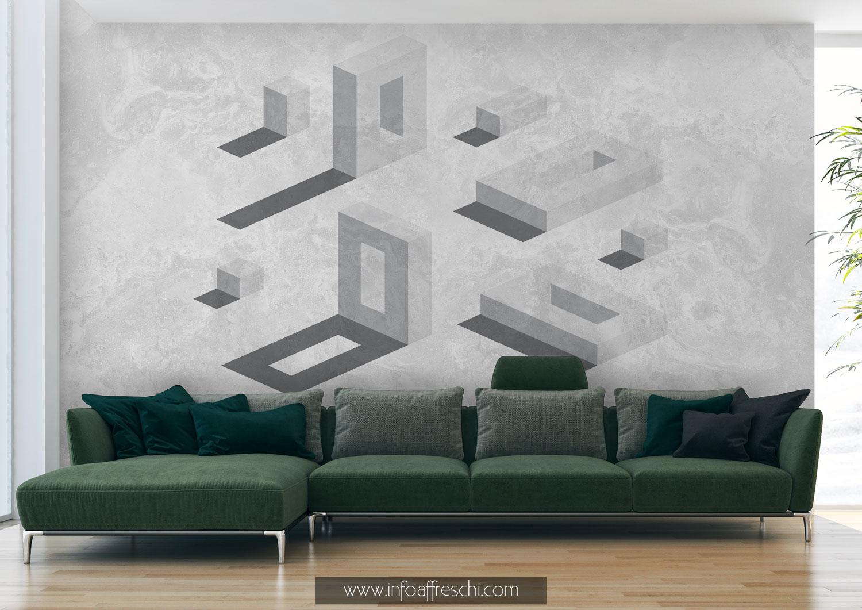Carta da parati 3D con elementi architettonici bianco e nero per interior design moderno, minimal e contemporaneo