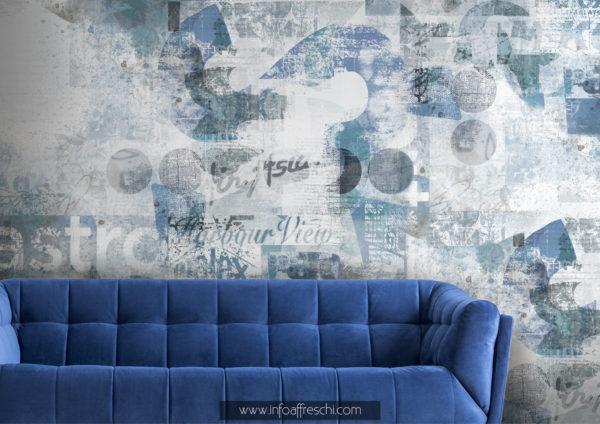 Carta da parati blu per il salotto effetto muro invecchiato e scritte vintage