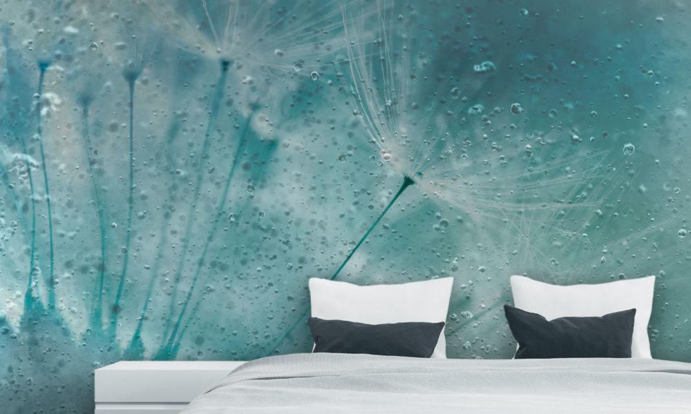 Carta da parati effetto gocce d'acqua con fiori colore turchese arredamento moderno