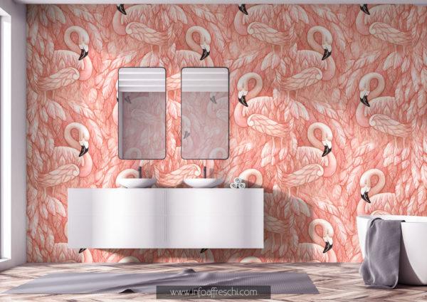 Carta da parati fenicotteri rosa nordic flamingo interior design contemporaneo
