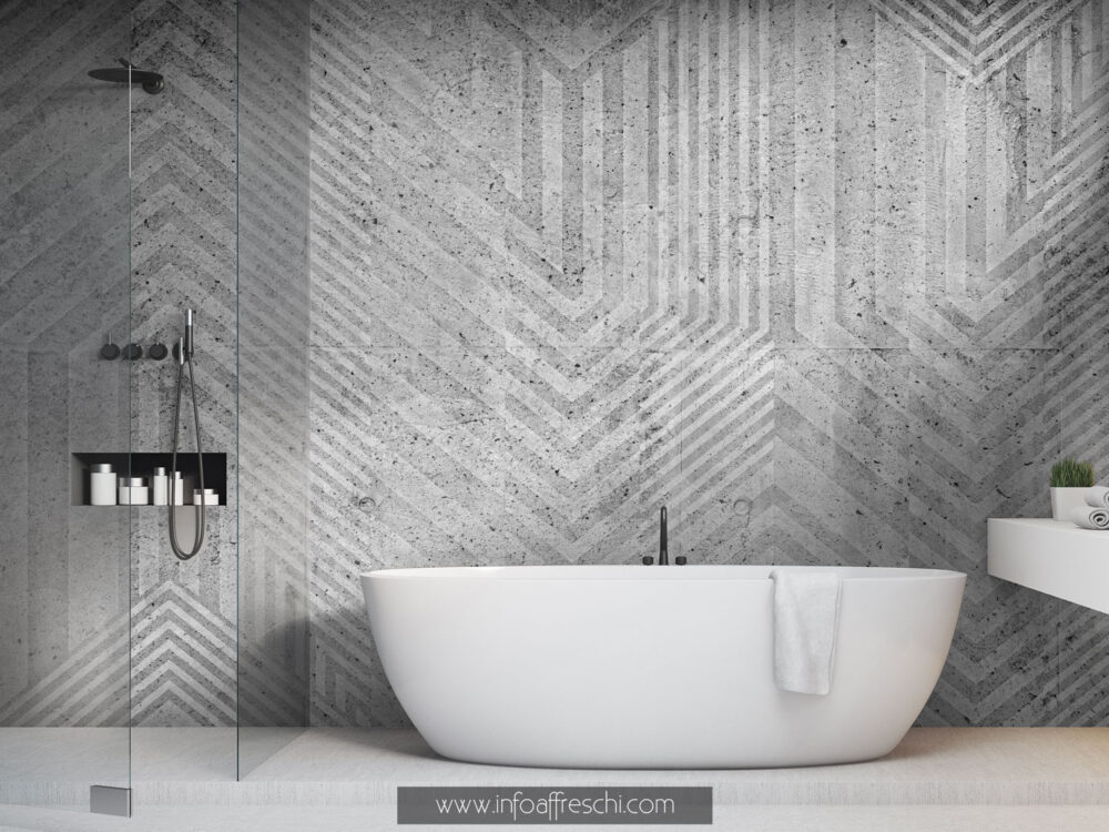 Carta da parati moderna bianca e nera geometrica interior design contemporaneo