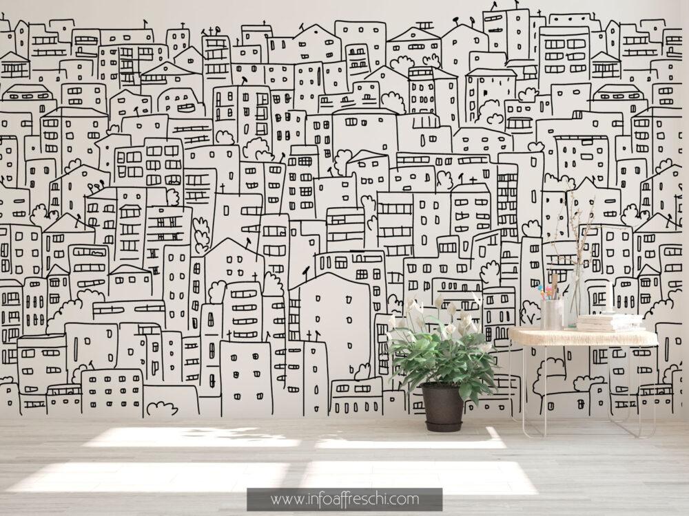 Carta da parati con città disegnata a mano, bianco e nero
