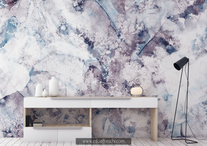 Carta da parati materica effetto nuvola astratta blu e viola
