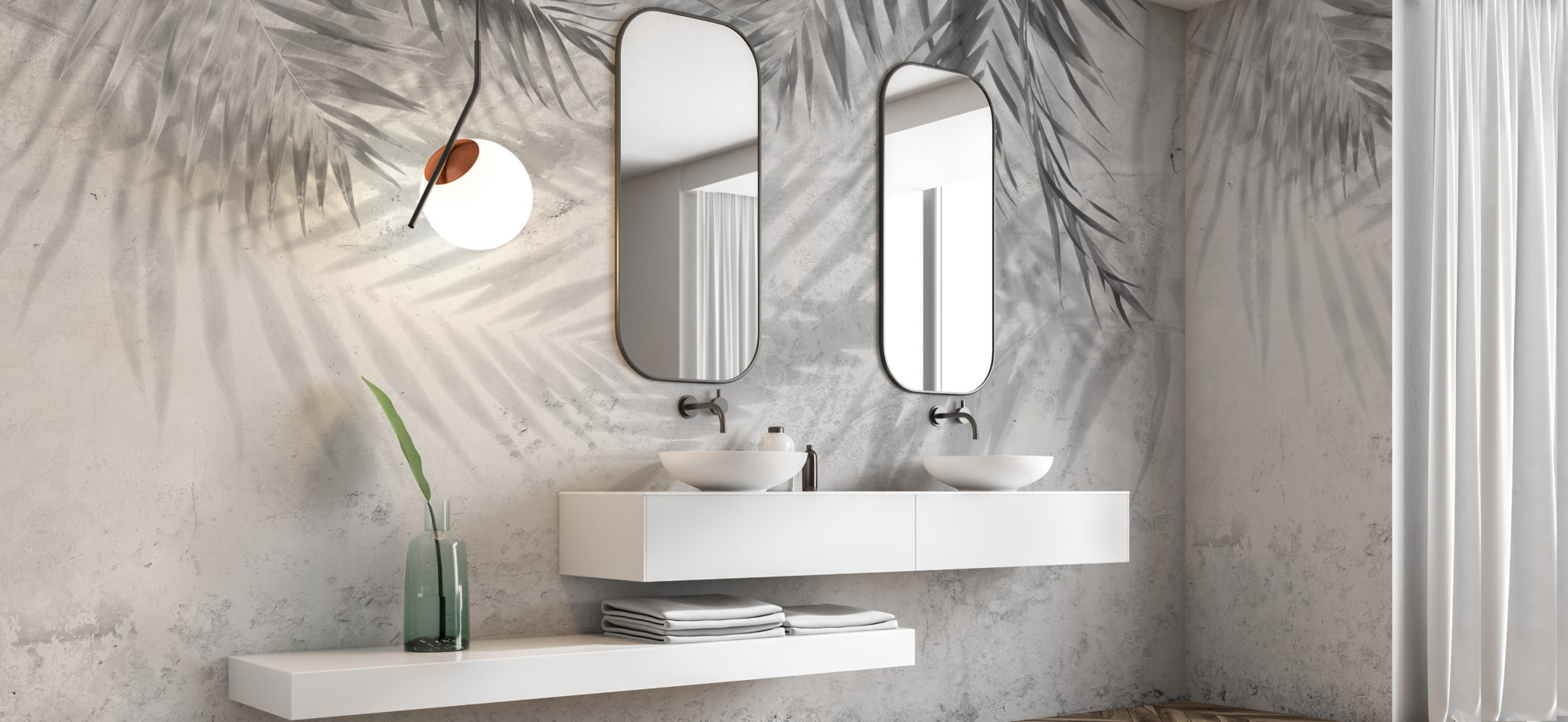 Carta da parati tropicale bianco e nero per arredare bagno e pareti di casa