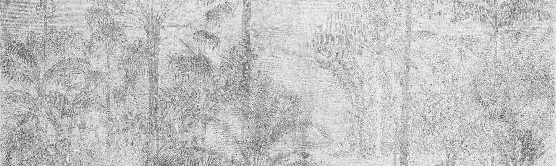 parete effetto tropical con palme grigie