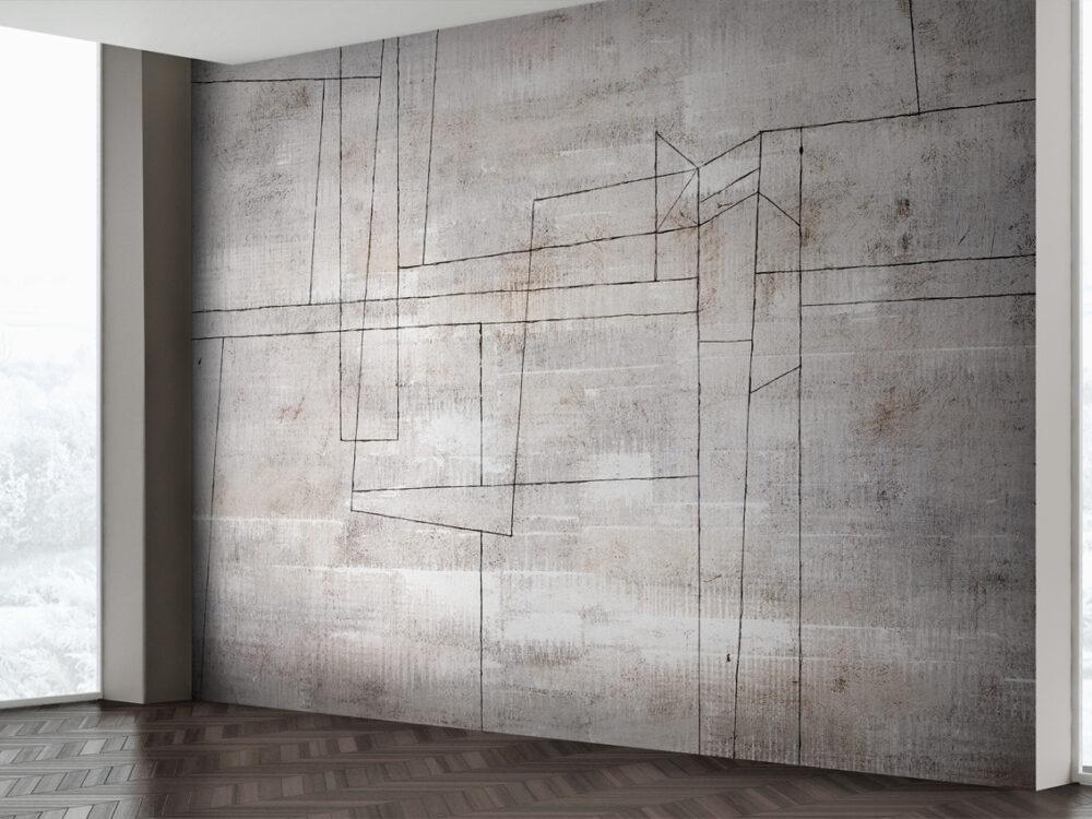 Carta da parati effetto cemento con motivi grafici per arredamento moderno