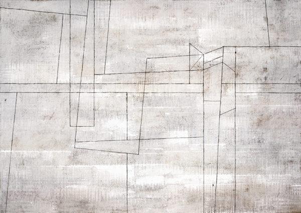 Parete effetto cemento con linee grafiche e geometriche, idee arredamento moderno e contemporaneo