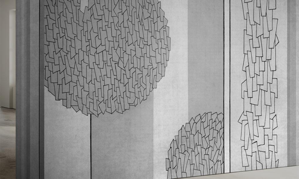 Carta da parati con motivi grafici e strisce verticali
