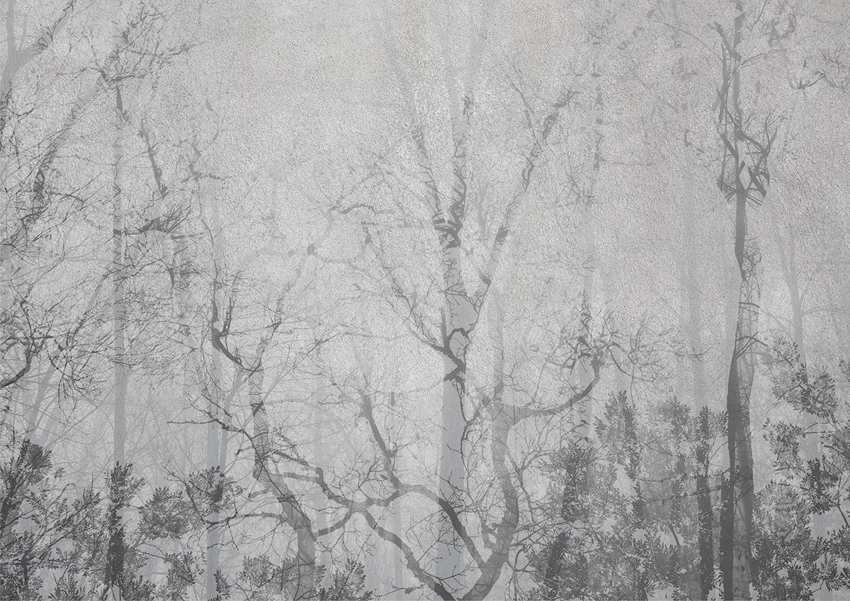 Carta da parati artigianale di design nordico, con foreste incantate ed alberi, parete grigia