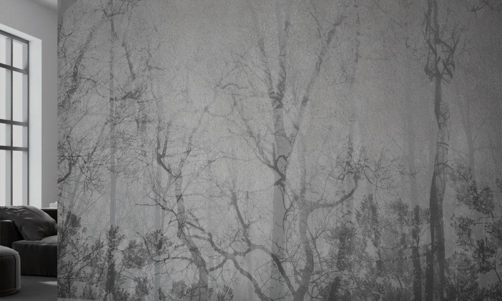 Carta da parati con alberi e foreste stile nordico