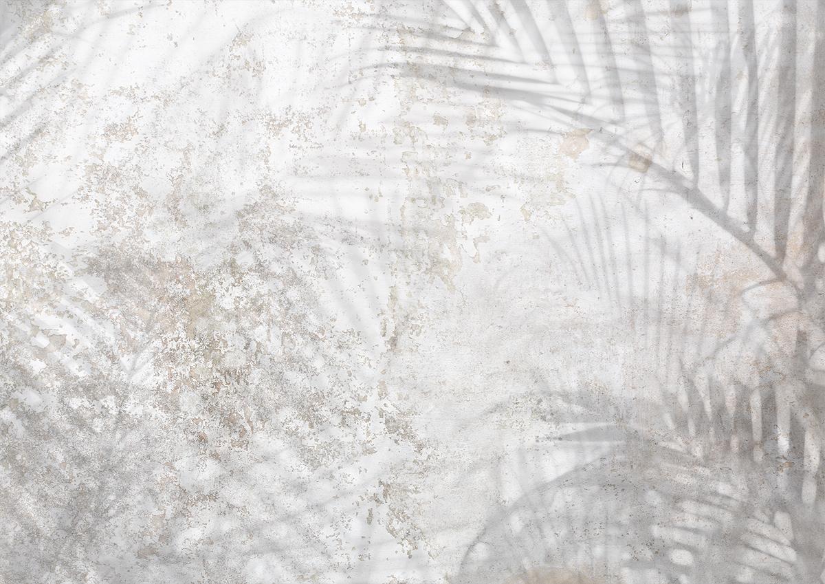 Decorazione parete effetto muro invecchiato con palme e piante tropicali colori neutri