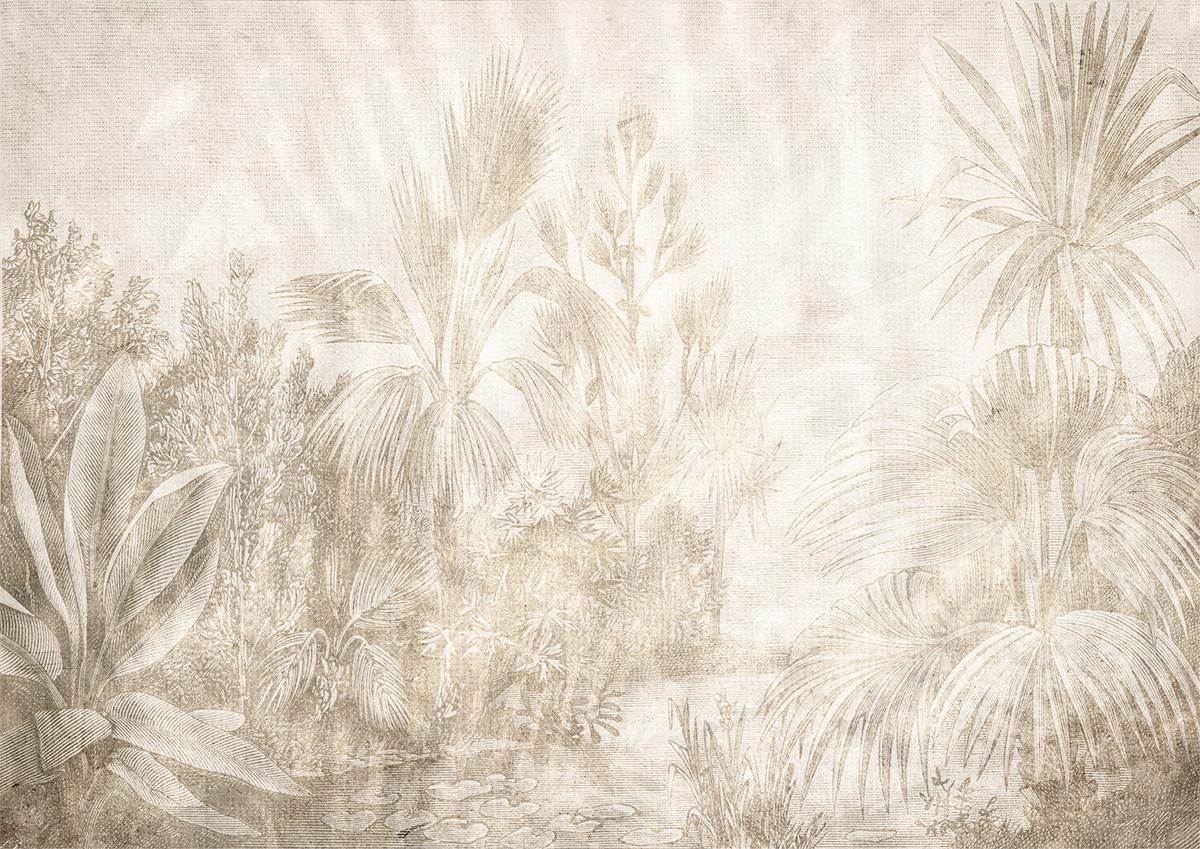 Carta da parati artigianale stile tropical con colori neutri, palme e ispirazioni naturali
