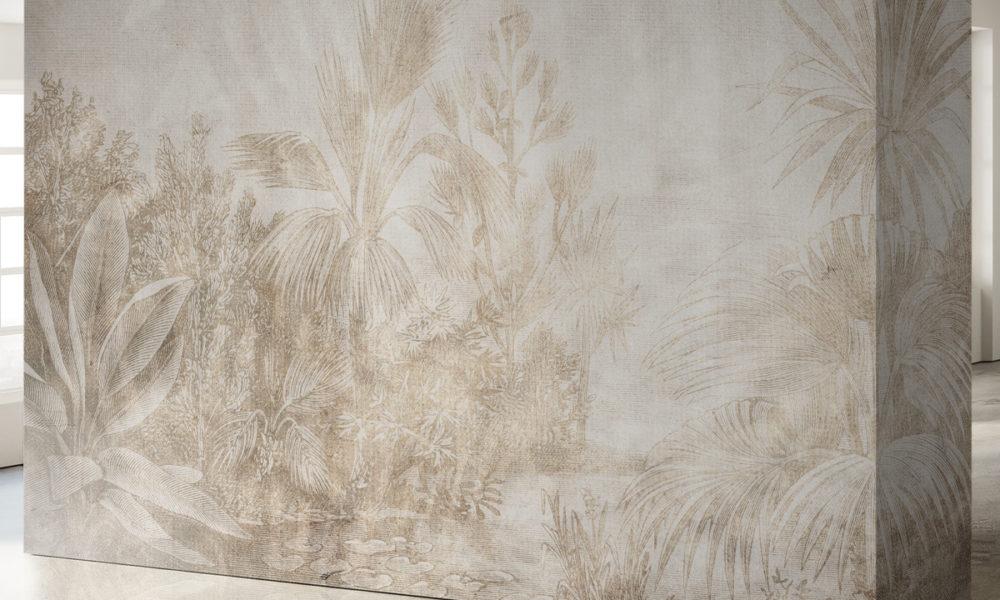 Muro stile tropical con colori neutri per arredare casa in stile contemporaneo