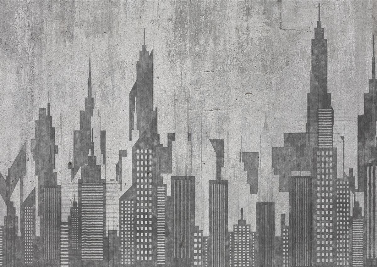 Carta da parati artigianale con panorama New York stile d'arredamento industriale e urban colore grigio