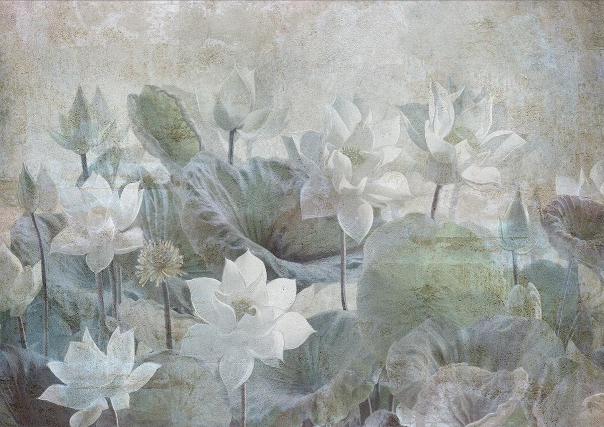 Carta da parati artigianale con fiori effetto antichizzato