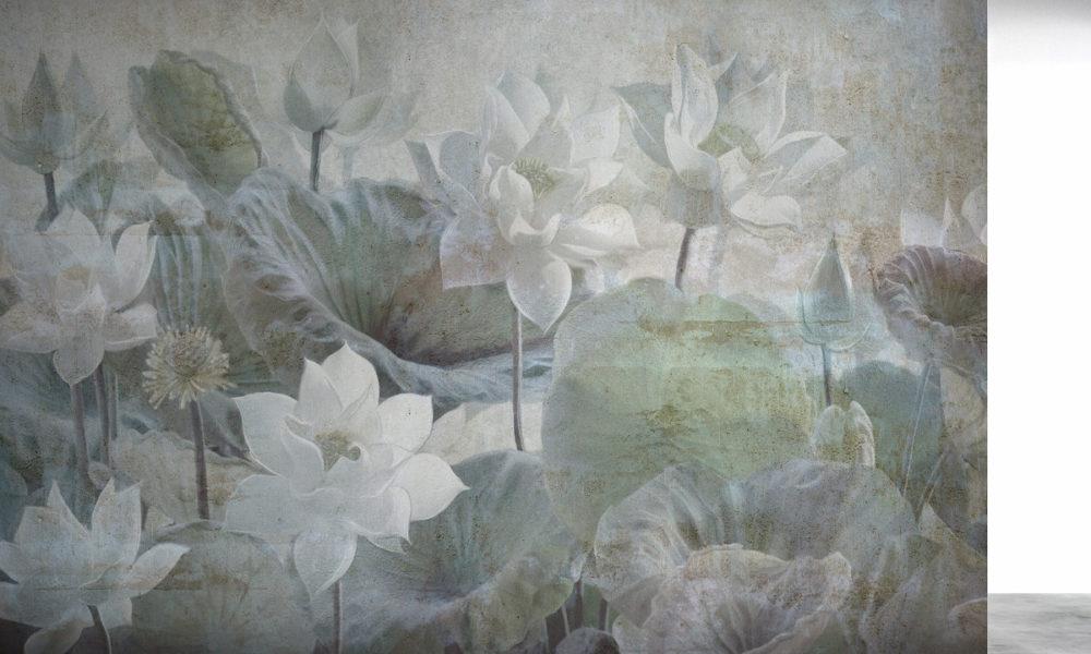 Carta da parati con fiori e colori neutri per arredare le pareti di casa