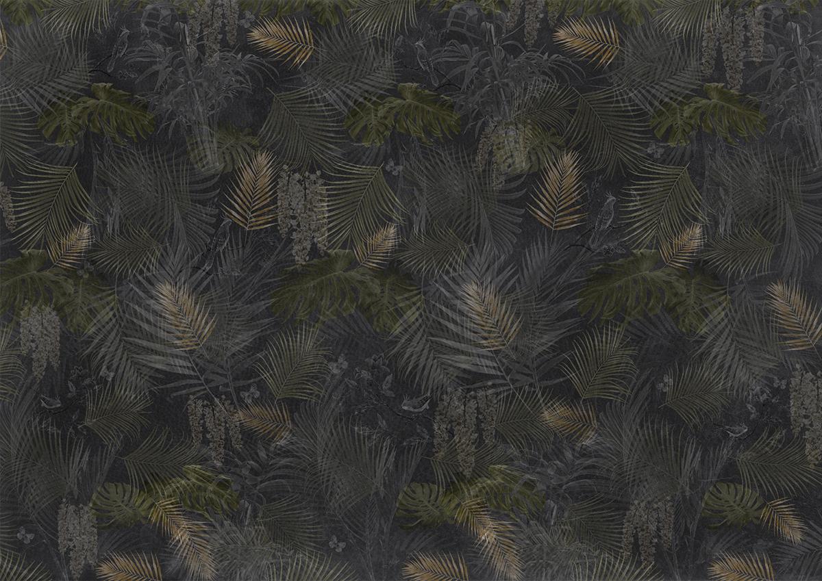 Parete effetto dark tropical con piante