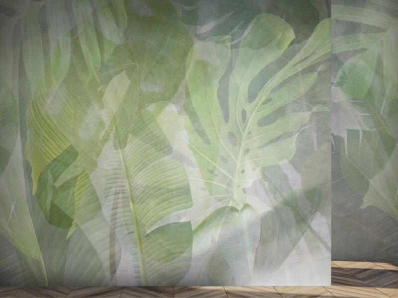 Parete con rivestimento tropical, con piante e foglie