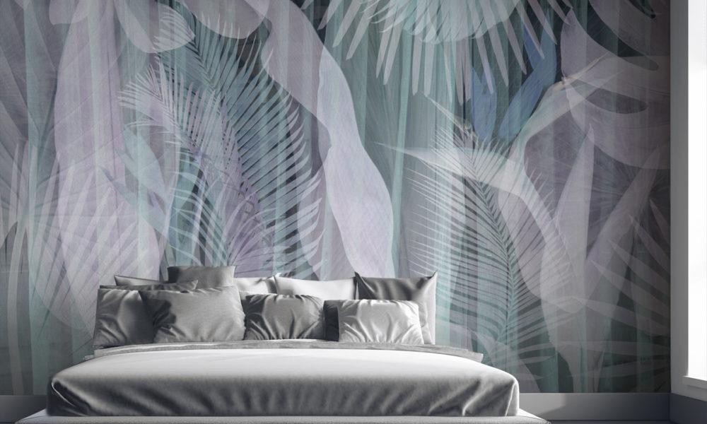 Carta da parati per arredare le pareti della camera da letto, con foglie e piante stile tropical