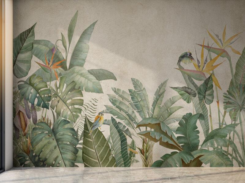 Parete con decorazioni in stile tropica, foglie di monstera, sterlizie e ficus