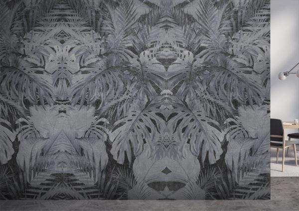 Parete con decorazioni in stile tropical, colore grigio, per arredare le pareti di casa