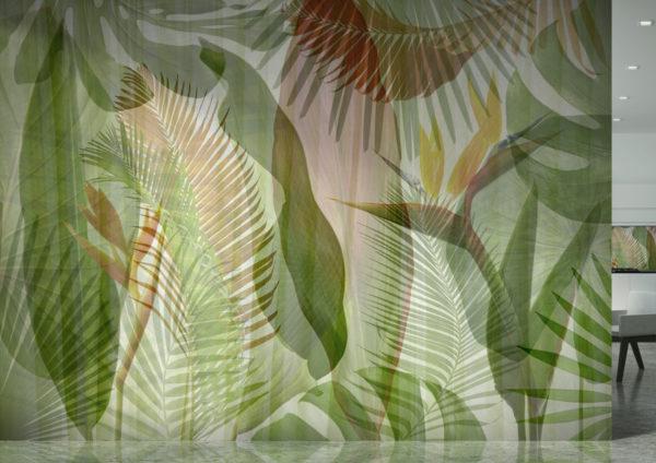 Rivestimento per parete in stile tropical con foglie e piante verdi per arredare le pareti di casa