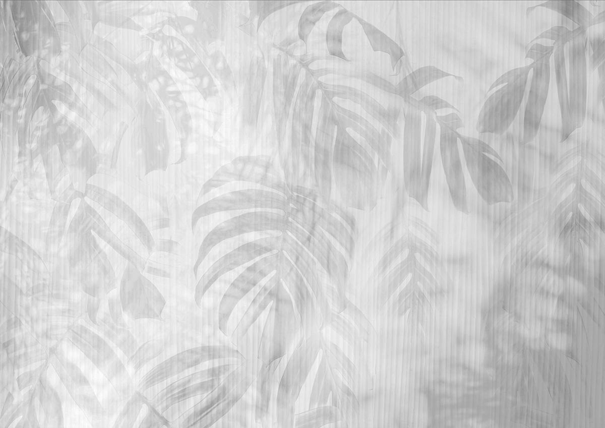 Muro effetto tropical con monstera e palme grigie e microrighe