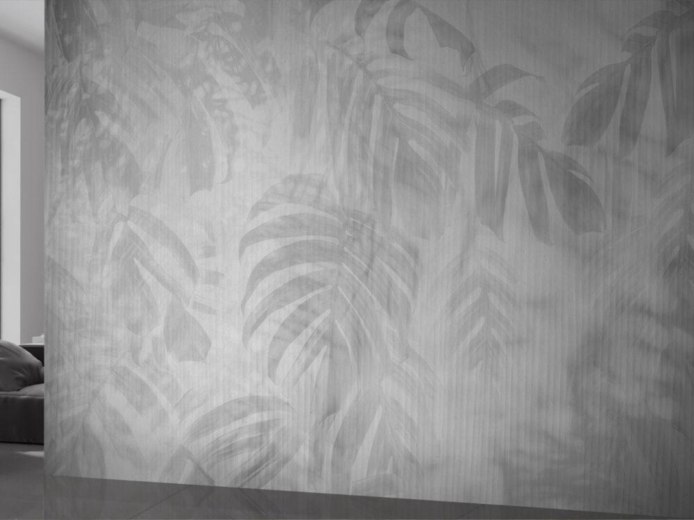 Carta da parati stile tropical, colori neutri per arredare le pareti, con palme e piante tropicali