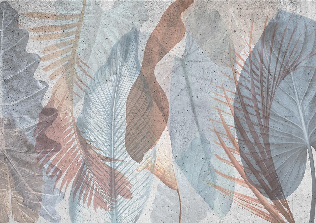 Parete effetto tropical con foglie e palme color carta da zucchero e terracotta