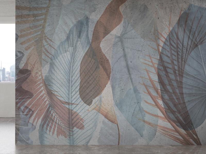 Parete con decorazioni tropical, palme e foglie color carta da zucchero e terracotta, idee interior design