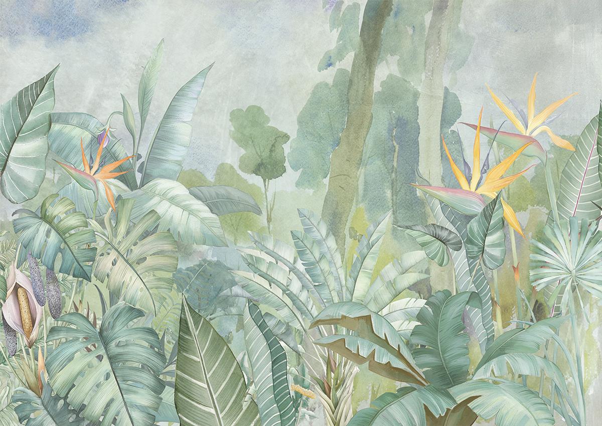 Parete effetto tropical con piante verdi e sterlizie
