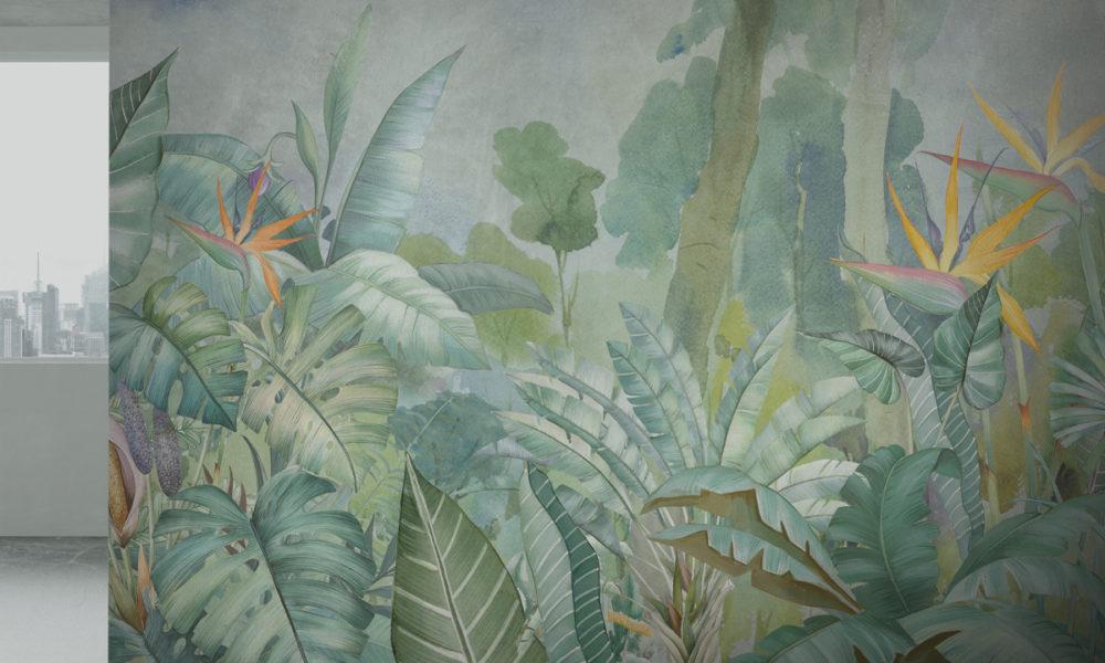 Parete effetto tropical con piante verdi e sterlizie, interior design contemporaneo
