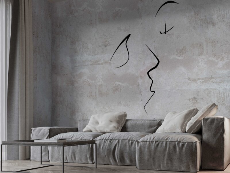parete effetto cemento arredamento moderno