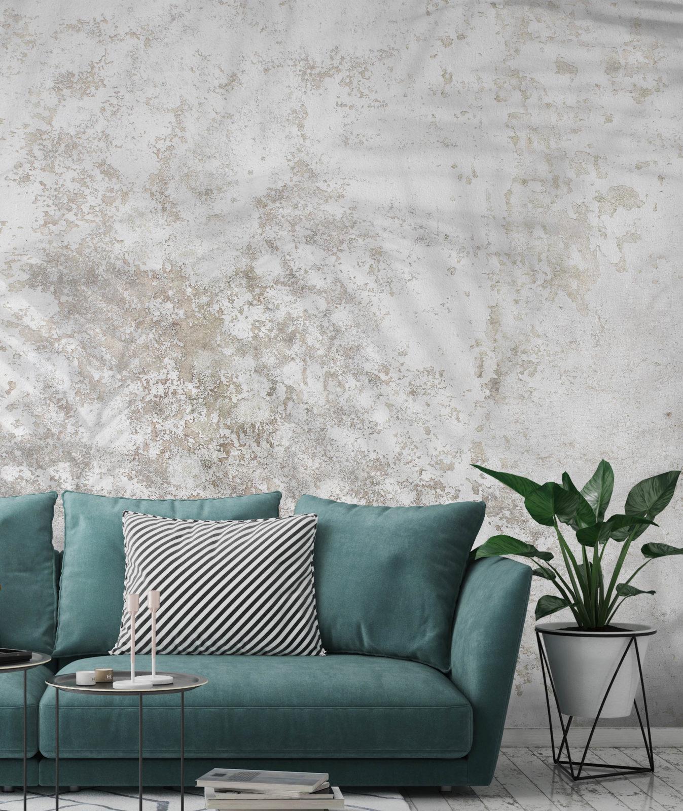 carta da parati effetto muro invecchiato con palme in trasparenza